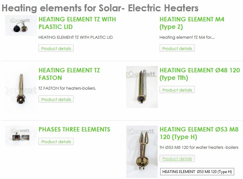 Heating elements for Solar- Electric Heaters