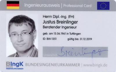 Aktualisierung Berufsausweis europäischer Ingenieur