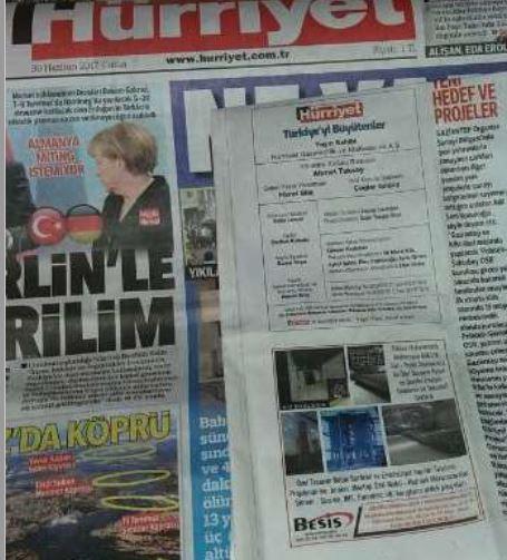 Besiş MAkina Türkiyeyi Büyütenler Hürriyet Gazetesinde