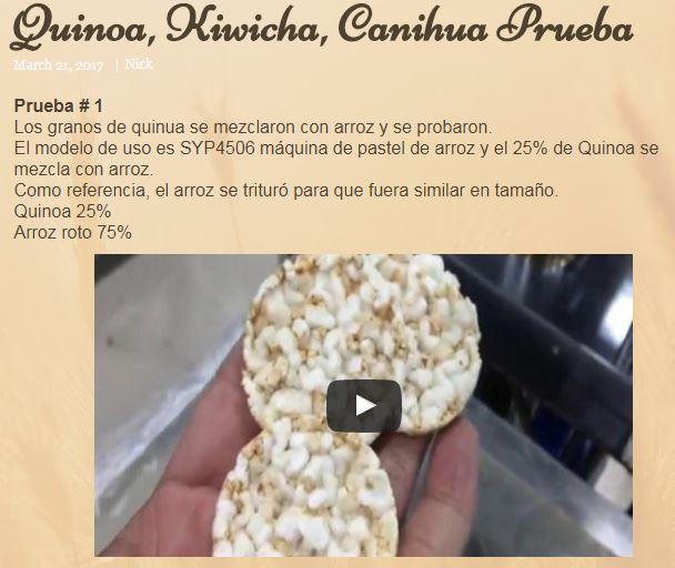 Prueba de Quinoa, Kiwicha, Canihua Prueba