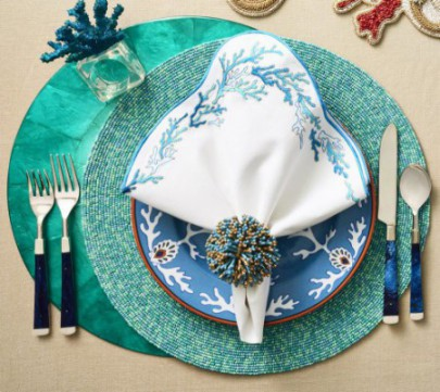 Round Confetti Placemat In Turquoise-Packed in Gift Bag
