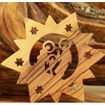 Olive Wood Ornament Bethlehem Star Holy Family