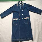 Women's long denim coat Stonewashed blue denim jacket