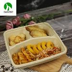 3 Compartment Biodegradable Paper Pulp Food Packaging Box Container