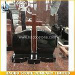 High Polished Black & Red Granite Cross Monument Designs