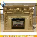 Uk style yellow marble indoor fireplace plans