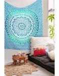 New Indian Mandala Wall Hanging Blue Ombre Design Tapestry