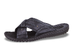 Black men's slippers from genuine leather