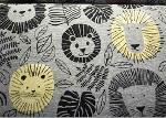 Gold Silver Foil glitter printed Organic fabric