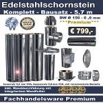 Edelstahlschornstein Bausatz 5,7 m - Ø 150 - 0,6 mm |...