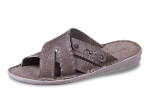 Beige men's slippers from genuine leather