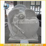 Chinese White Marble Angel Tombstone