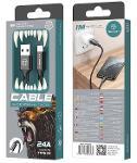 CABLE TYPE USB-C NYLON 2A 1M NOIR