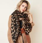 Long scarf with leopard, flower and classic check print