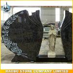 Double Carved Rose Mary Headstone Bahama Blue Granite
