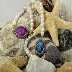 Druzy chalkenody and fresh water neckclace