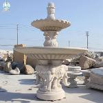 Outdoor Garden Waterwheel Fountain With Elephant Carving