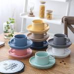 Colorful ceramic Coffee cup set Simple European style