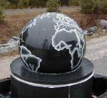 Fontaine à billes en granit avec boule tournante