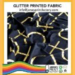 Glitter gold silver printed fabric