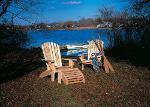 Chaise Adirondack bois et repose-pieds