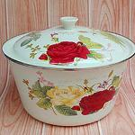 Enamel tureen with cover 22cm