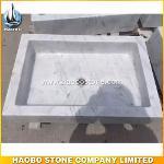 Polished Square Carrara White Marble Bathroom Basin...