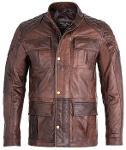 Mens Brontes 3/4 Soft Vintage Brown Leather Jacket