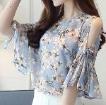 Summer Chiffon Women Open Shoulder Blouse
