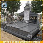 G654 Dark Grey Granite Monument with Jesus Carving