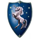 Grand Bouclier Ecusson Licorne Bleu 47x 32cm