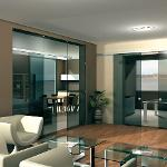 V-5103 - ceiling / wall, sliding door set with fixed glass support profile