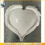 Carved Wing Heart Shape Headstone With White Marble