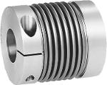 Metal bellows couplings with radial clamping hub