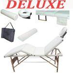 Table de Massage Pliante 4 Zones de Luxe Cadre en Bois