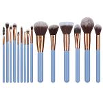 Rosy Gold Taklon Synthetic Hair Makeup Brushes ,Blue Handle
