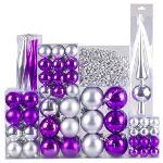 Weihnachtskugel 130-teiliges Set Farbe: Silber / Violett