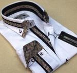Model MM double collar slimfit men's shirt production