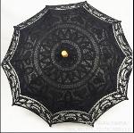 Sun umbrella with lace macrame(black)