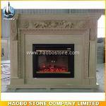 Beige marble indoor fireplace designs