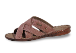 Brown men's slippers from leather