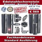 Edelstahlschornstein Bausatz Sonderangebot 5,7 m - Ø...