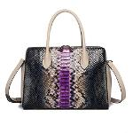 Luxury women real crocodile leather shoulder bag glossy pruple