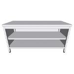 Table-armoire centrale ouverte en inox profondeur 60cm