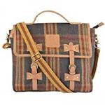 Leather Messenger Sling Bag England Checks with Flap