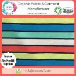Yarn dyed 100% Cotton Organic Jersey fabric Natural Stripe