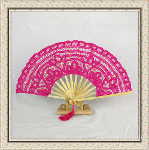 Bamboo-based craft fan by hand embroidery