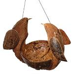 Vie Naturals Bird Feeder, Coconut Shell With 2 Bird Carving