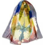 Echarpe En Mousseline De Soie Imprimée Paints De L'artiste Thuy - Tilleul Bleu