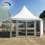 Dia 8m High Peak Pagoda Tent With Glass Floor